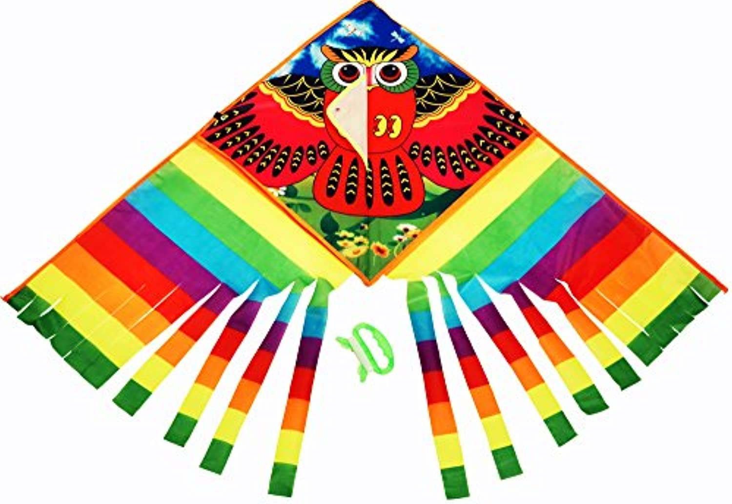 (OWL KITE) - SkyStand PREMIUM OWL FLYING KITE - One of the Best Delta Kites for Kids, Kites for Adults with Multicolor Tail and what we call BUTTERFLY EFFECT