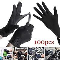 ブラックニトリル手袋、粉末安全性なしの使い捨てラテックスフリー医療用グレード安全検査ラージブラック(箱入り100個)