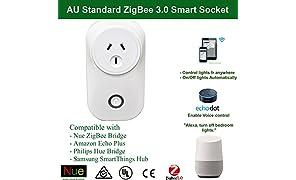 Nue ZigBee Smart Outlet Socket Plug Compatible with Echo Plus and ZigBee Bridge Hub for Home Automation
