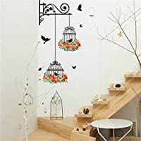 Unknown Birdcage Wall Sticker - 1 Piece Romantic Flying Black Bird Birdcage Wall Sticker Decals Flower Home Decor PVC Mural Decal Mural Living Room Bedroom Office Décor