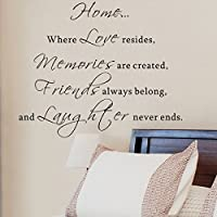 Pop Decors WL-0053-Vb Inspirational Quote Wall Decal, Home Where Love Resides [並行輸入品]