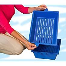 BLUE Lift and Sift Pet Self Sifting Cat Litter Box Tray - Large Self Cleaning Kitty Litter Trays - 45x32x12cm