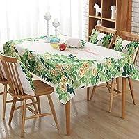 QY テーブルクロス テーブルクロス コットンとリネン 地中海 スタイル 新鮮な アート 矩形 コーヒーテーブル デコレーション キッチン ピクニック パーティー 屋外の 屋内 QY テーブルクロス (色 : Chunlan, サイズ さいず : 100*140cm)