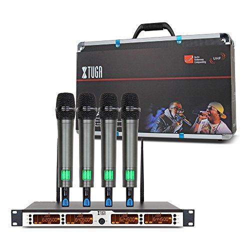 [해외]Xtuga SKM4000 선택 가능한 주파수를 가진 4 x 100 채널 UHF 무선 마이크 시스템은 방해를 방지하고 가족 파티~ 교회~ 작은 가라오케 나이트 (범위 : 200~320Ft)/Xtuga SKM 4000 4 x 100 Channel UHF Wireless Microphone System with Selectable Fr...