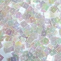 5mm正方形フラットスパンコールクリアクリスタルレインボーIris Iridescent