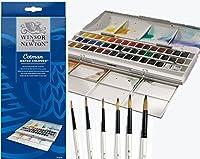 Winsor & Newtonパン半分Cotman Water Colour Studio Set Plus 6水彩パールブラシ