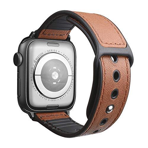 Ocaatech コンパチブル apple watch バンド 本革+シリコンバンド ビジネススタイル スポーツに向け 一体型 アップルウォッチバンド バンド交換スト Sport/Edition series4/3/2/1に対応 【42mm/44mm】