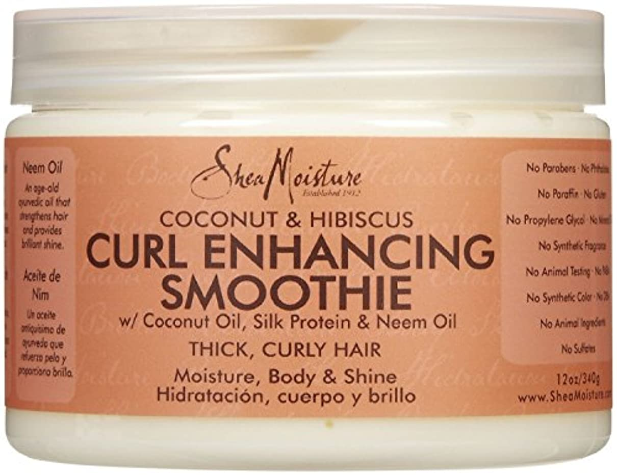 フィッティング熟読する汚染シーモイスチャー Shea Moisture Coconut Hibiscus Curl Enhancing Smoothie ヘアトリートメント