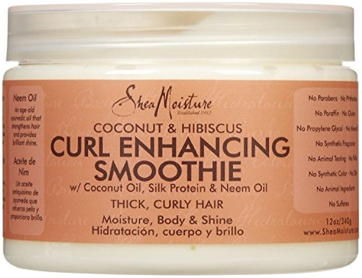コア道徳の動シーモイスチャー Shea Moisture Coconut Hibiscus Curl Enhancing Smoothie ヘアトリートメント