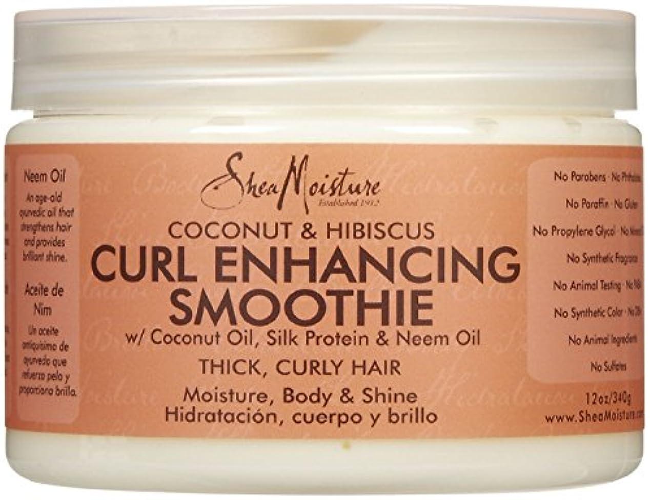 舌な荒涼とした封筒シーモイスチャー Shea Moisture Coconut Hibiscus Curl Enhancing Smoothie ヘアトリートメント