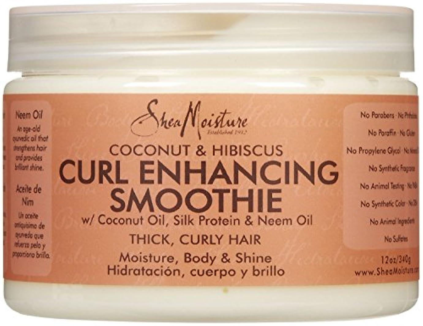 憎しみ担当者組み合わせるシーモイスチャー Shea Moisture Coconut Hibiscus Curl Enhancing Smoothie ヘアトリートメント