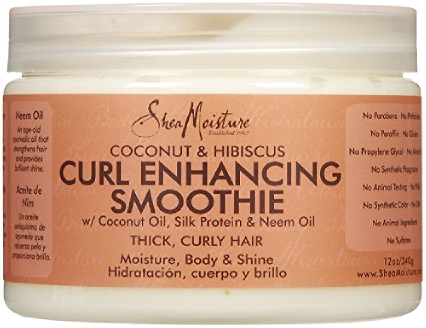 高価なホイスト統計的シーモイスチャー Shea Moisture Coconut Hibiscus Curl Enhancing Smoothie ヘアトリートメント