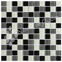 """ボックス10タイルブラック/ホワイト/グレーガラスモザイクタイル12"""" x12"""" pizzoli-gl018"""