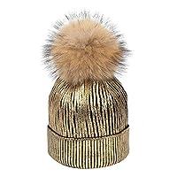 LUOEM ウィンタースロッチービーニーメタリックシャイニービーニースカル帽子レディース(ゴールデン)