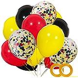 ミッキーカラーバルーン 40個パック 12インチ 赤 黒 黄色 ラテックス 風船 紙吹雪バルーン ベビーシャワー 誕生日パーティー デコレーション用品 リボン付き