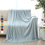 'Battilo Solid Blanket Cross Woven Couch Throw Knitted Blanket with Decorative Fringe Lightweight for Bed Or Sofa Decorative (Light Blue)