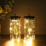 JHY Design Set of 2 Cylinder Glass Table lamp Battery Powered,7 inch Tall Cordless Accent Light with 8pcs Fairy Lights.Great