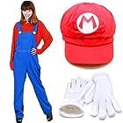 【コスプレ】 マリオ Mario 衣装 赤Tシャツ&オーバーオール&赤帽子&白い手袋&ミニファイバークロス 5点セット 男女兼用 Lサイズ(166cm-172cm)