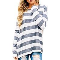 Famulily Women's Long Sleeve High Low Hem Loose Fit Oversized Stripe Tee Shirt Tunic Tops