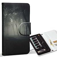 スマコレ ploom TECH プルームテック 専用 レザーケース 手帳型 タバコ ケース カバー 合皮 ケース カバー 収納 プルームケース デザイン 革 写真・風景 写真 森 夜 霧 008571