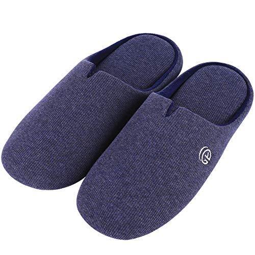 メンズ スリッパ 来客用室内室外 防滑 洗える ベルベット低反発 高品質ルームシューズ(M ネービー)