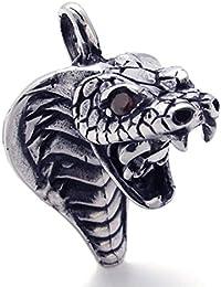 [テメゴ ジュエリー]TEMEGO Jewelry メンズキュービックジルコニアステンレススチールヴィンテージペンダントゴシックコブラネックレス、レッドブラックシルバー[インポート]