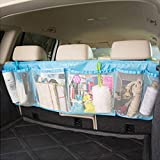 BXT マルチ 車内収納ポケット カーポケット カーシートポケット 大容量 メッシュポケット スッキリ収納 小物収納 雑物整理整頓 後座席掛けバッグ ドライブポケット カーアクセサリ 便利グッズ ブルー