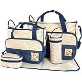 多機能 マザーズバッグ ダークブルー 可愛い ママバッグ ハンドバッグ 親子バッグセット デイリーバッグ ショルダー トート 斜め掛けもOK ドット  Baby Diaper Nappy Changing Bags blue/light blue/khaki/purple/red (blue)