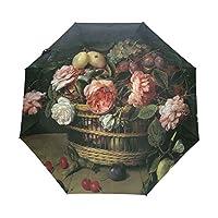 折りたたみ傘 自動開閉 ワンタッチ 油彩 花籠 生け花 8本骨 撥水性 晴雨兼用 雨傘 ファッション 自動傘 耐風 三つ折り傘