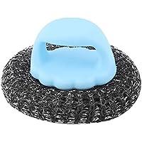 uxcell クリーニングブラシ ブルー プラスチックハンドル 金属ワイヤーボール 家庭 キッチン用