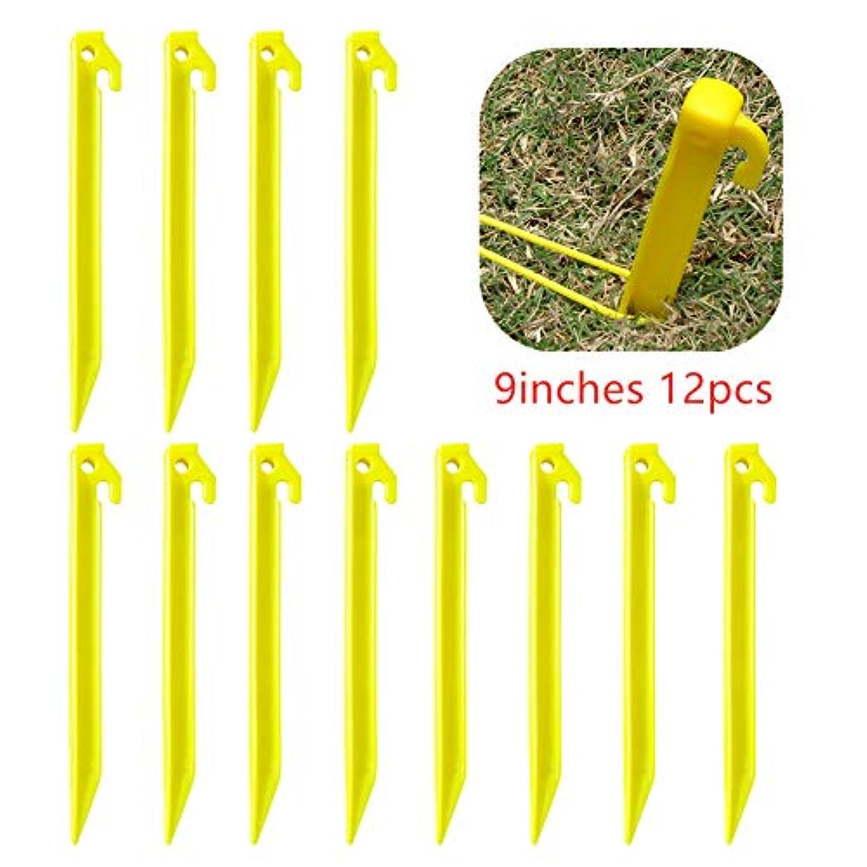 所持スロットAiroads アウトドアテントステークブランケットステーク9インチ 丈夫で強力なプラスチックペグ テントビーチマット、ピクニック、キャンプ、芝生用ブランケット(12パック)