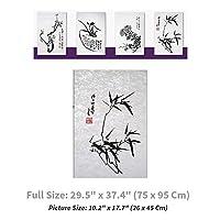 "NaRaOn HanJi [3個]韓国の伝統的な桑紙韓紙東洋4つの優雅な植物が自然の竹 29.5"" ×37.4"" (75×95センチメートル) 自然な白(水差し) [並行輸入品]"
