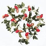 Luyue シルク造花 藤 ローズ インテリア飾り花輪を吊る 結婚式お祝い誕生日パーティー、1個セット (赤)