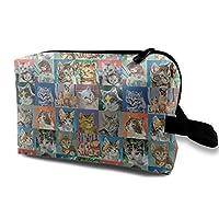 猫 ねこ顔 柄 化粧バッグ 収納袋 女大容量 化粧品クラッチバッグ 収納 軽量 ウィンドジップ