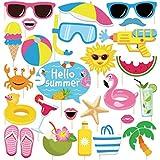 CC HOME ハワイルアウ テーマ サマーパーティー プール 写真ブース小道具 夏 水泳 プール ビーチ パーティー用品 ベビーシャワー 誕生日パーティー ウェディング ハワイルアウ ティキに 屋内 屋外 楽しい 夏 記念品 25個