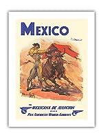 メキシコ - 準メキシカナ航空 - パンアメリカン航空 - 闘牛士 - ビンテージな航空会社のポスター によって作成された カルロス・ルアノ・ロピス c.1950 - プレミアム290gsmジークレーアートプリント - 30.5cm x 41cm