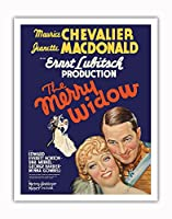 The Merry Widow - 主演 Maurice Chevalier, Jeanette MacDonald - Ernst Lubitsch監督 - ビンテージなフィルム映画のポスター c.1934 - アートポスター - 28cm x 36cm