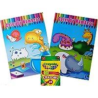 セットの2つのカラーby Numbers Coloring Books with 24パッククレヨン