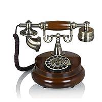 GX アンティークヨーロッパのパストラルレトロ電話/木製の金属ロータリーダイヤル電話/機械のリング/装飾装飾家の固定電話 家の装飾/電子製品