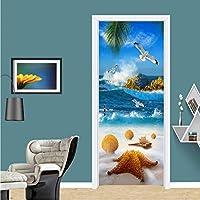 Xbwy 現代の海辺の風景ドアステッカーPvc自己粘着防水壁画壁紙リビングルーム環境に優しい写真壁絵画-200X140Cm