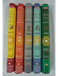 Hem Feng Shui Range Incense 5 x 20, 100 Sticks (FIRE EARTH METAL WOOD WATER) by Hem