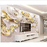 Wuyyii 現代のミニマリストの壁画の壁紙3Dエンボス牡丹新中国のテレビの背景の壁のリビングルームの寝室の3Dの壁紙 - 450X300Cm