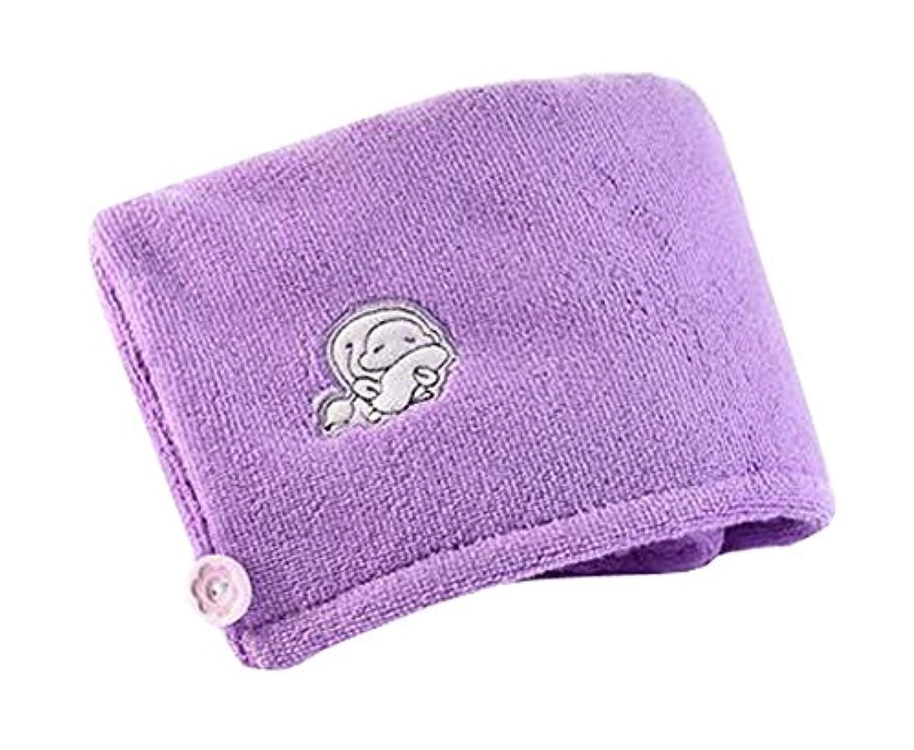 スキー確かにトロイの木馬スーパー吸収タオル厚いヘアシャワーキャップ、太郎紫