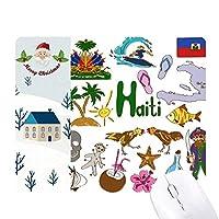 ハイチ島風景動物の国旗 サンタクロース家屋ゴムのマウスパッド