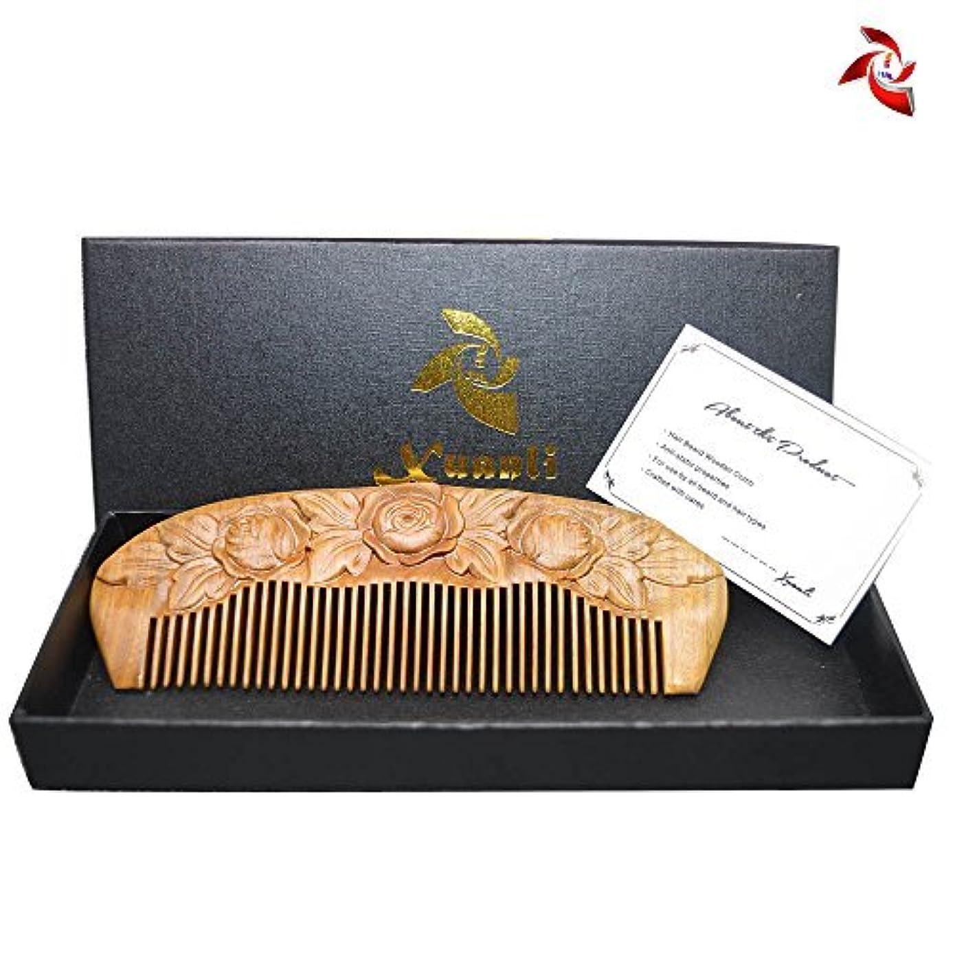 凍結説得力のある努力するXuanli Wood Combs Carving roses design Natural Green Sandalwood Combs Top Quality Handmade Combs For Hair No Static...