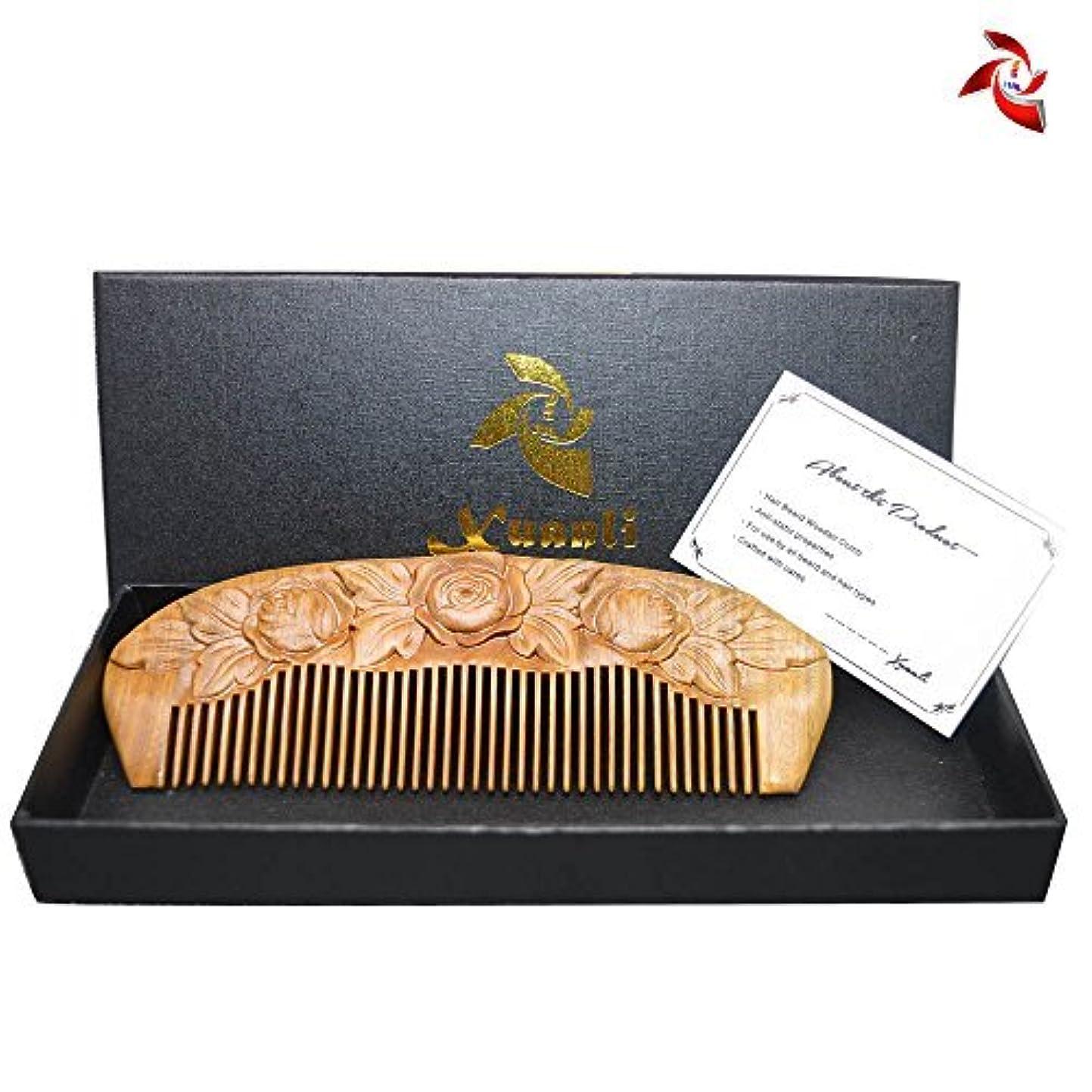 きしむ案件財政Xuanli Wood Combs Carving roses design Natural Green Sandalwood Combs Top Quality Handmade Combs For Hair No Static...