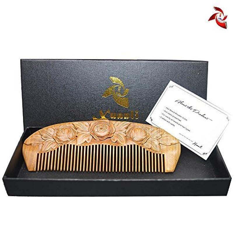 思いやり高齢者計画的Xuanli Wood Combs Carving roses design Natural Green Sandalwood Combs Top Quality Handmade Combs For Hair No Static...