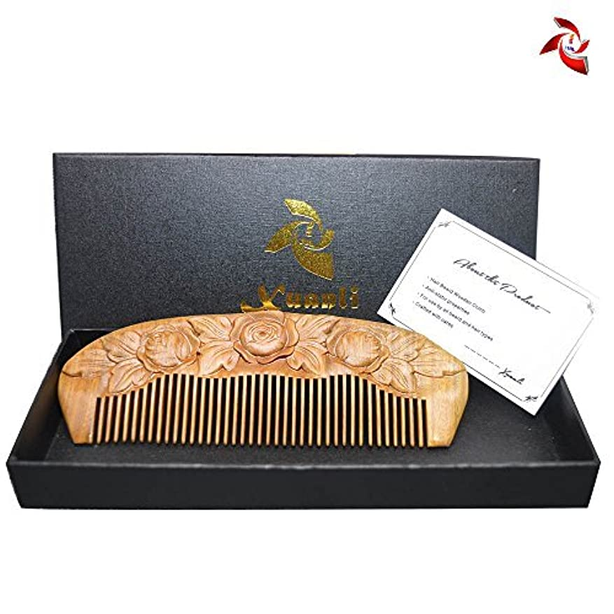 潤滑する印刷する特許Xuanli Wood Combs Carving roses design Natural Green Sandalwood Combs Top Quality Handmade Combs For Hair No Static...