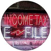 Income Tax E-File Indoor Display Dual Color LED看板 ネオンプレート サイン 標識 白色 + 赤色 300 x 210mm st6s32-j2694-wr
