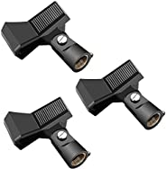 Neewer 3 Packs Microphone Clip Clamp Holder for Mic Stand with 5/8 inch Screw and Microphone Within 22MM-35MM